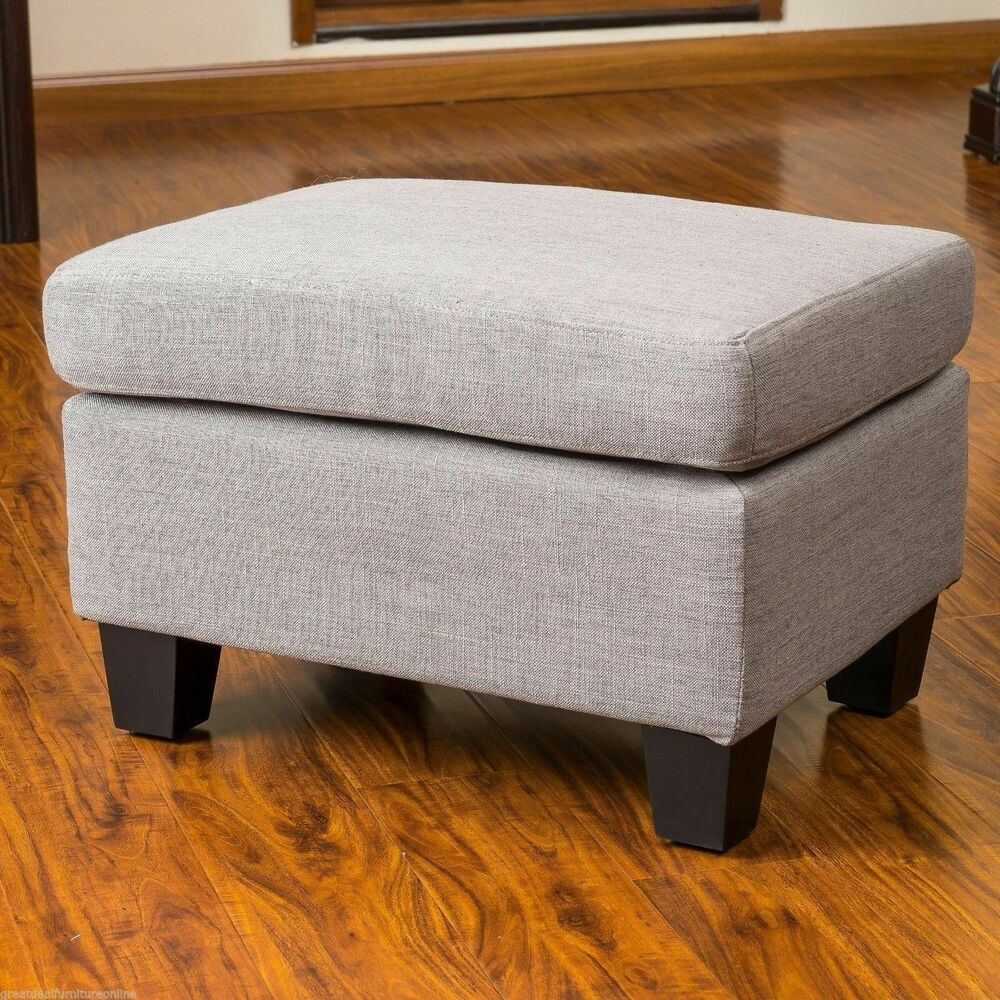 Living room grey fabric footstool ottoman w padded top ebay for Footstool living room
