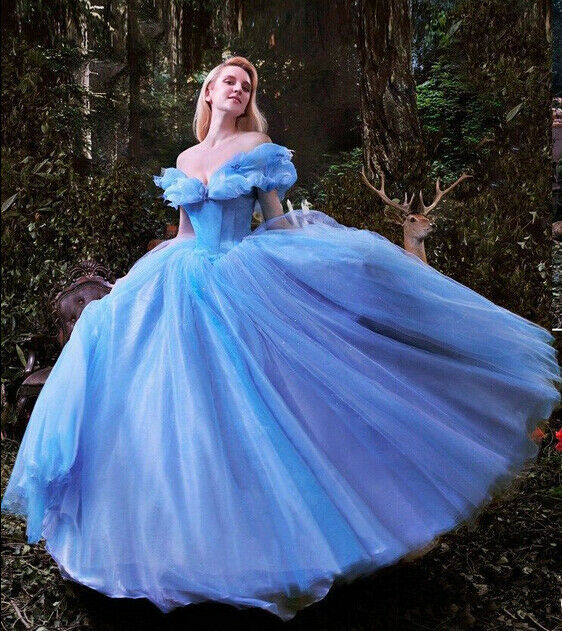 Details about New Sandy Princess Cinderella Women Blue Dress Cosplay  Costume Adult d62111ddcf4c