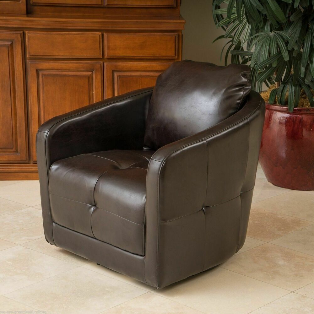 Modern design brown leather swivel club chair ebay for Chair design leather