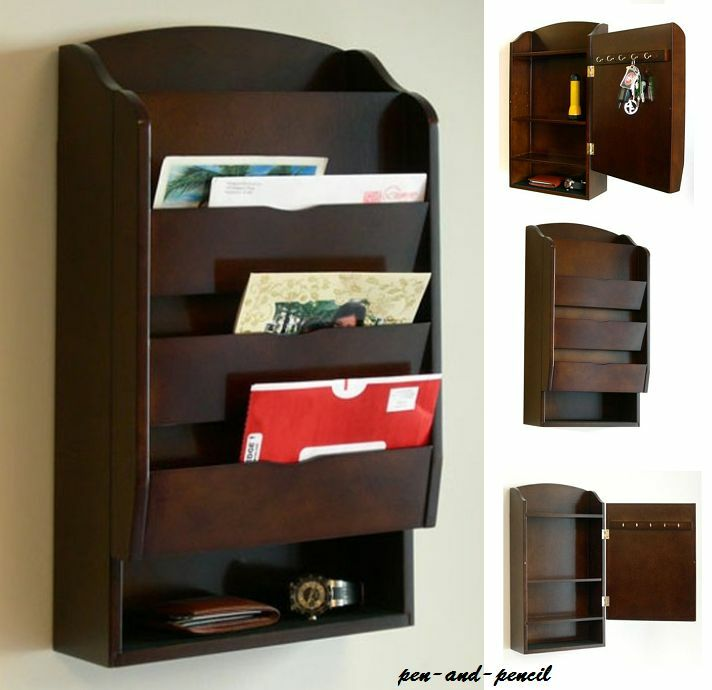 Letter mail wall rack mount storage organizer holder key wood bill office home ebay - Wall mounted mail organizer and key rack ...