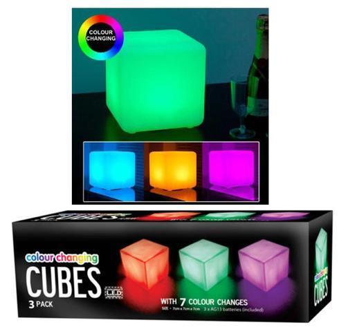 3 x colour changing mood cubes light set led warm glow night party xmas gift ebay. Black Bedroom Furniture Sets. Home Design Ideas