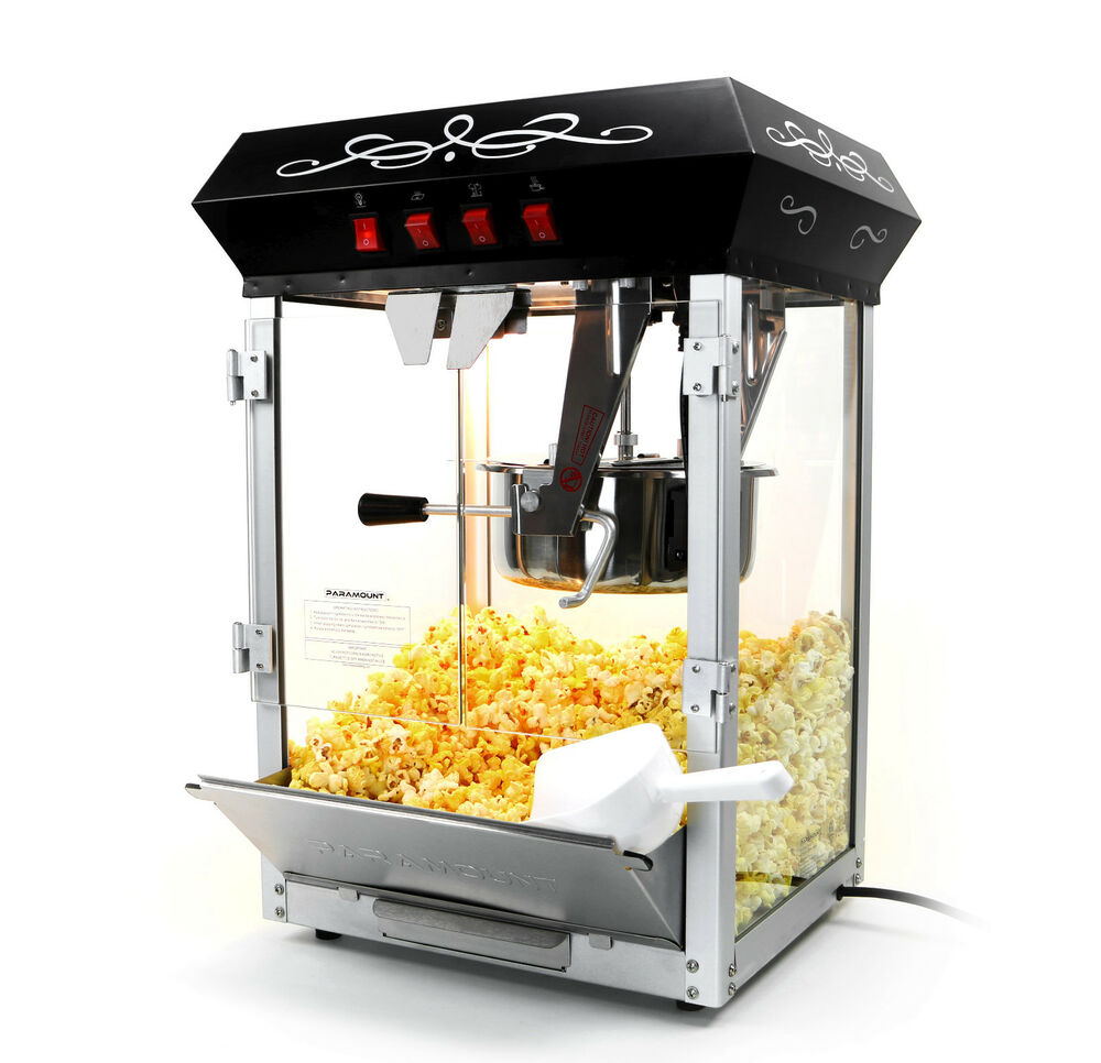 paramount 8oz popcorn maker machine new upgraded 8 oz hot oil popper black ebay. Black Bedroom Furniture Sets. Home Design Ideas