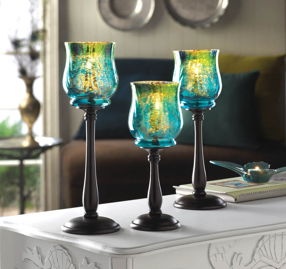 Home Decor Candle Holders And Accessories: SET OF 3 MEDITERRANEAN SPLASH GLASS CANDLE HOLDER BLACK