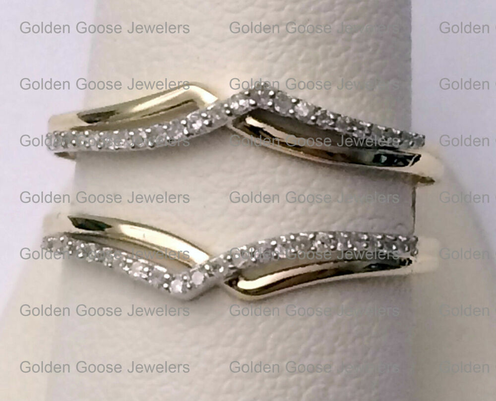 New 14k Yellow Gold Two Rows Solitaire Enhancer Diamonds