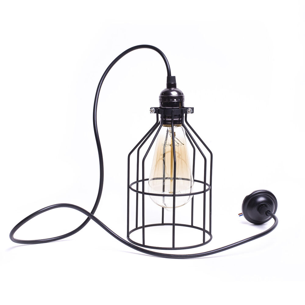 Industrial ceiling light bulb guard metal pendant lamp for Industrial bulb pendant