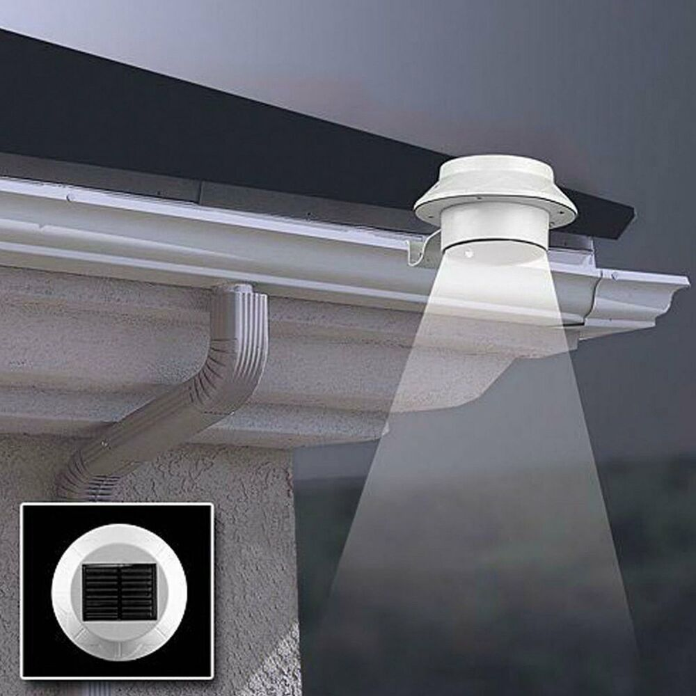 Outdoor 3 Led Solar Powered Wall Mount Fence Garden Gutter