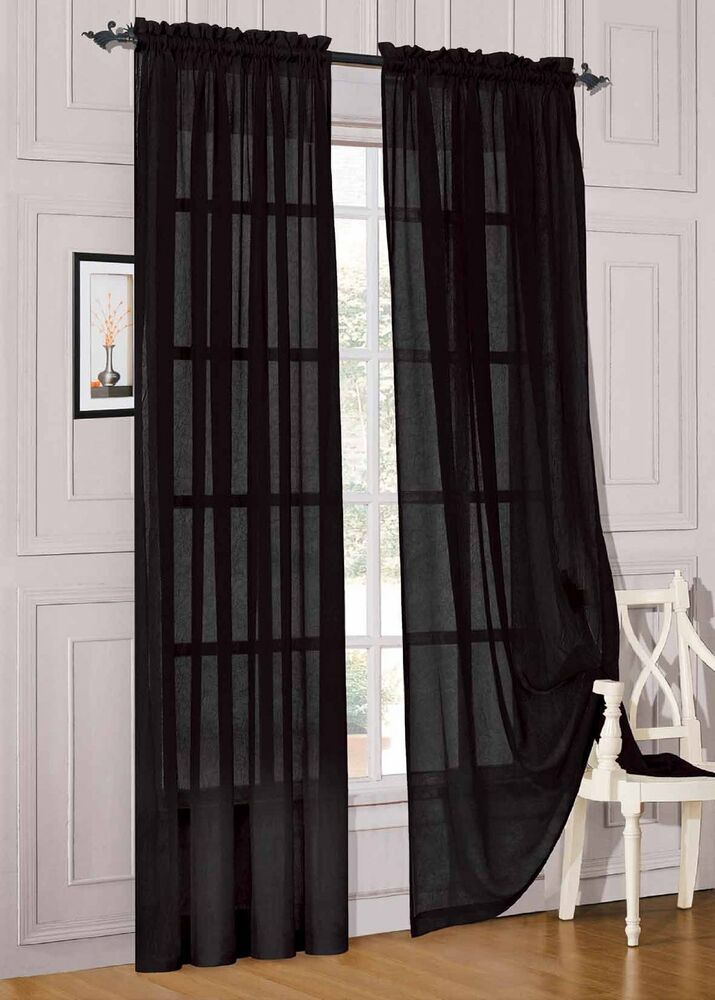 2 Piece Solid Black Sheer Window Curtains/drape/panels ...
