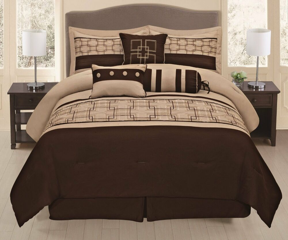 brown bed sets 7pieces embroidery square design chocolate brown beige 10950