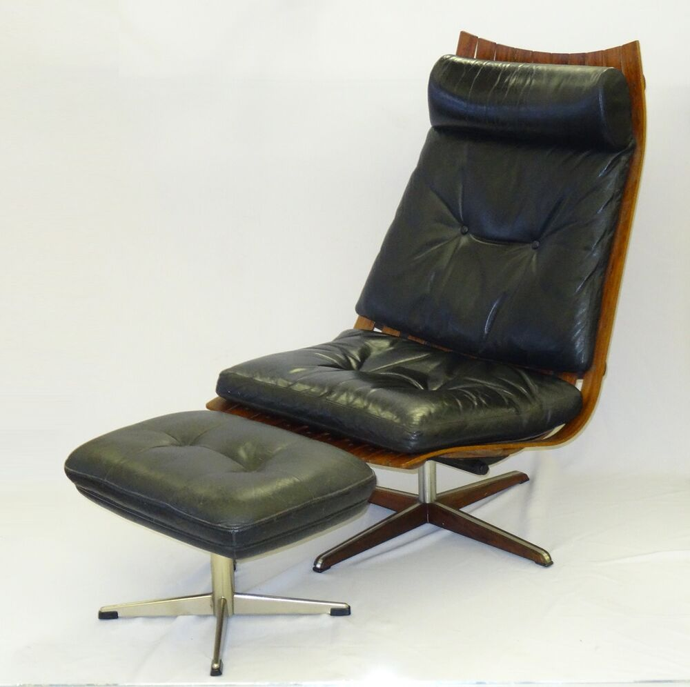 RARE 60 39 S HANS BRATTRUD HOVE MOBLER ROSEWOOD SCANDIA SWIVEL LOUNGE CHAIR