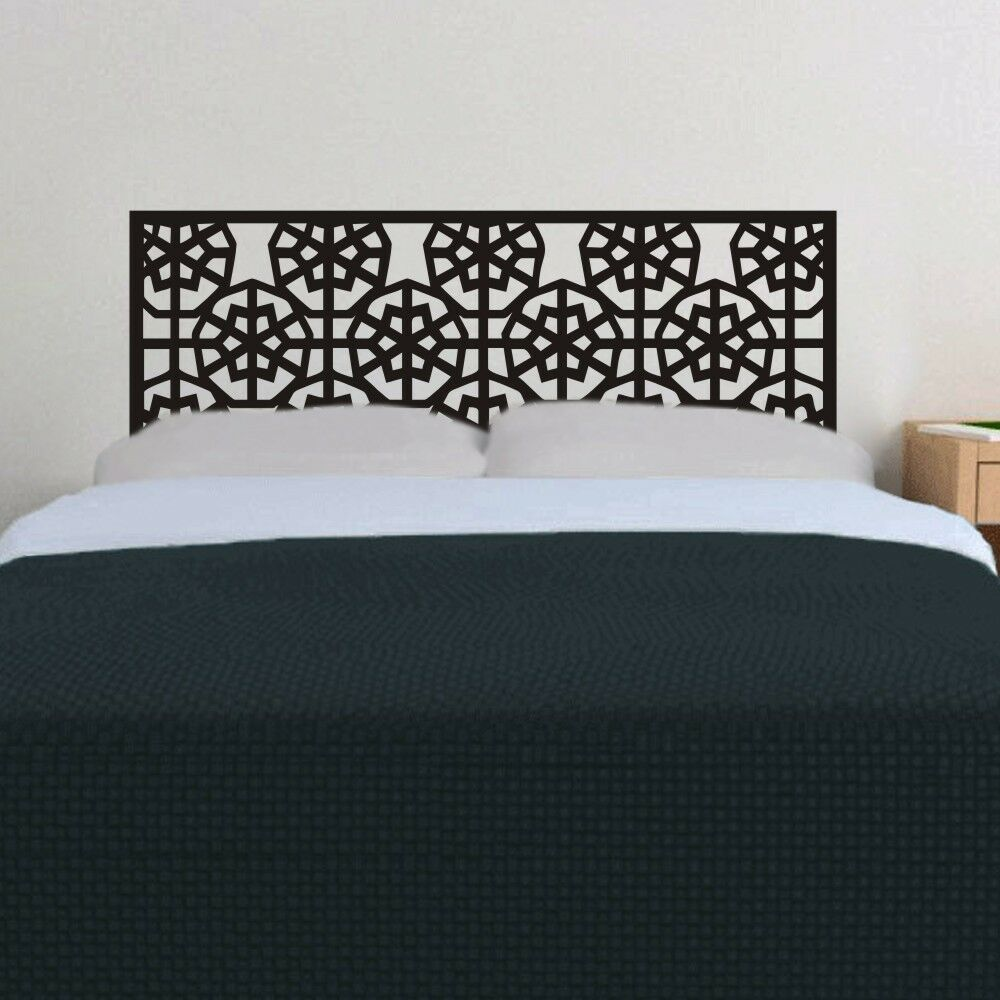 Inspired headboard wall decal bed post removable vinyl art for Mural headboard
