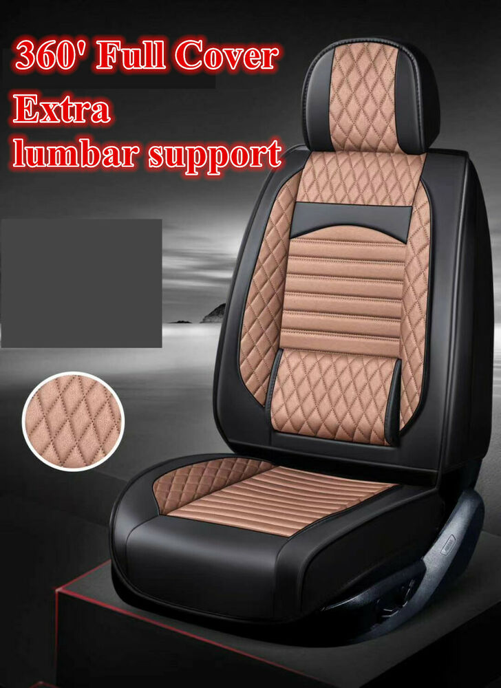 black leather car seat covers waterproof toyota camry corolla rav4 hilux prius ebay. Black Bedroom Furniture Sets. Home Design Ideas