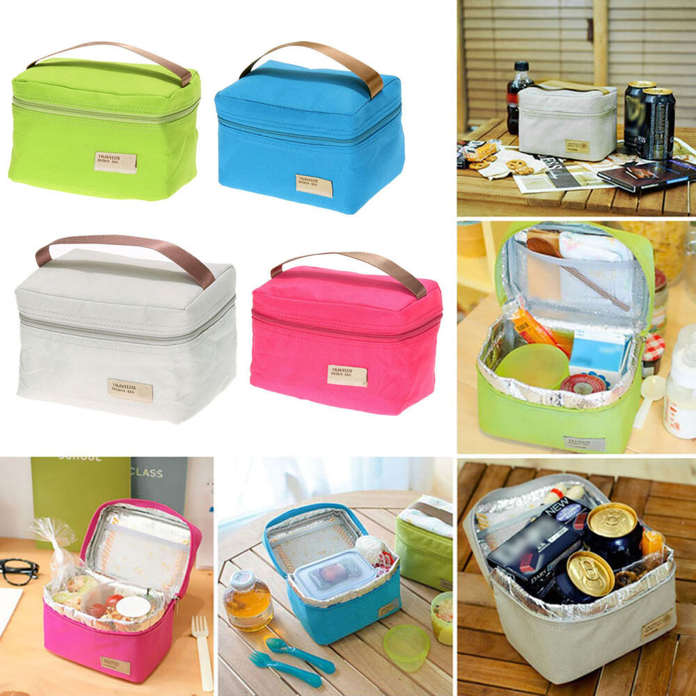 thermal insulated lunch box cooler bag tote bento pouch container storage bag ebay. Black Bedroom Furniture Sets. Home Design Ideas