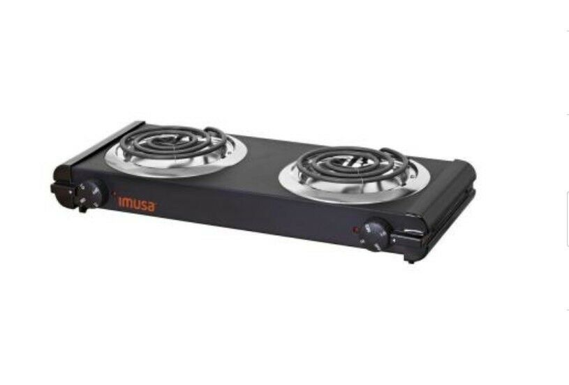 IMUSA 6 in. Electric Double Burner Portable Stove Cooktop Countertop ...