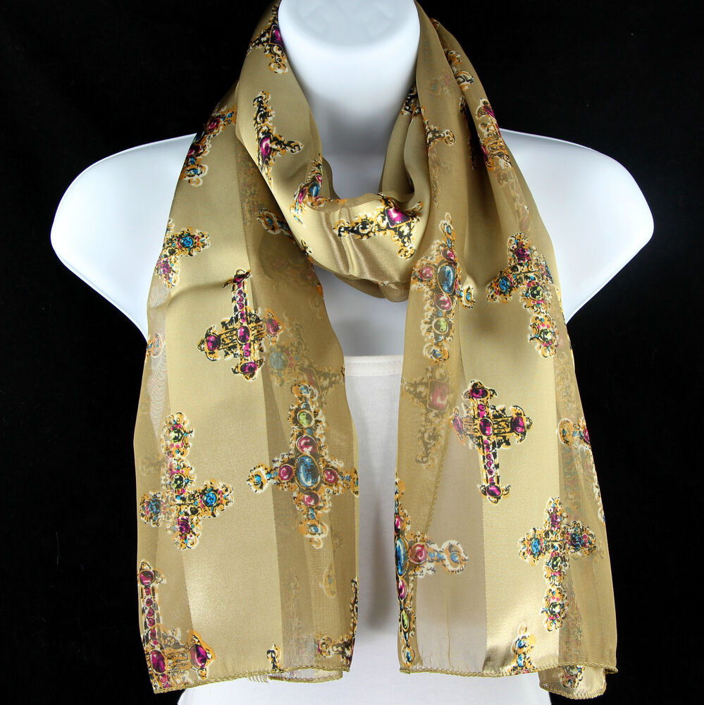 jeweled cross s scarf christian religious gift