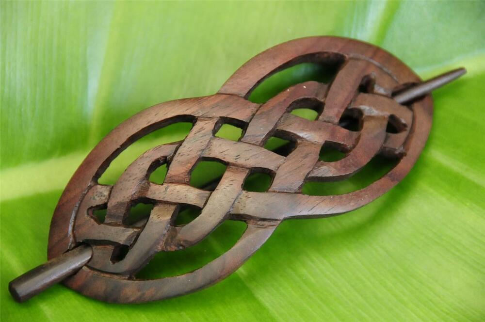 Carved celtic style wood hair pin barrette slide clasp