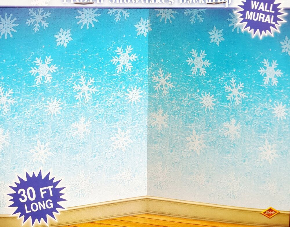 30ft frozen snowflake winter wall mural christmas scene for Christmas wall mural