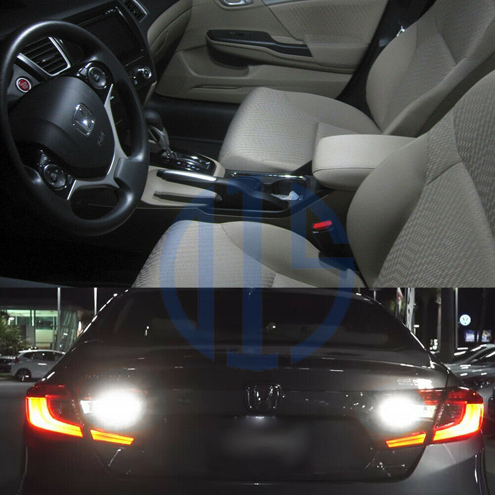 8 x white led interior bulbs reverse tag lights for - 2015 honda accord interior illumination ...