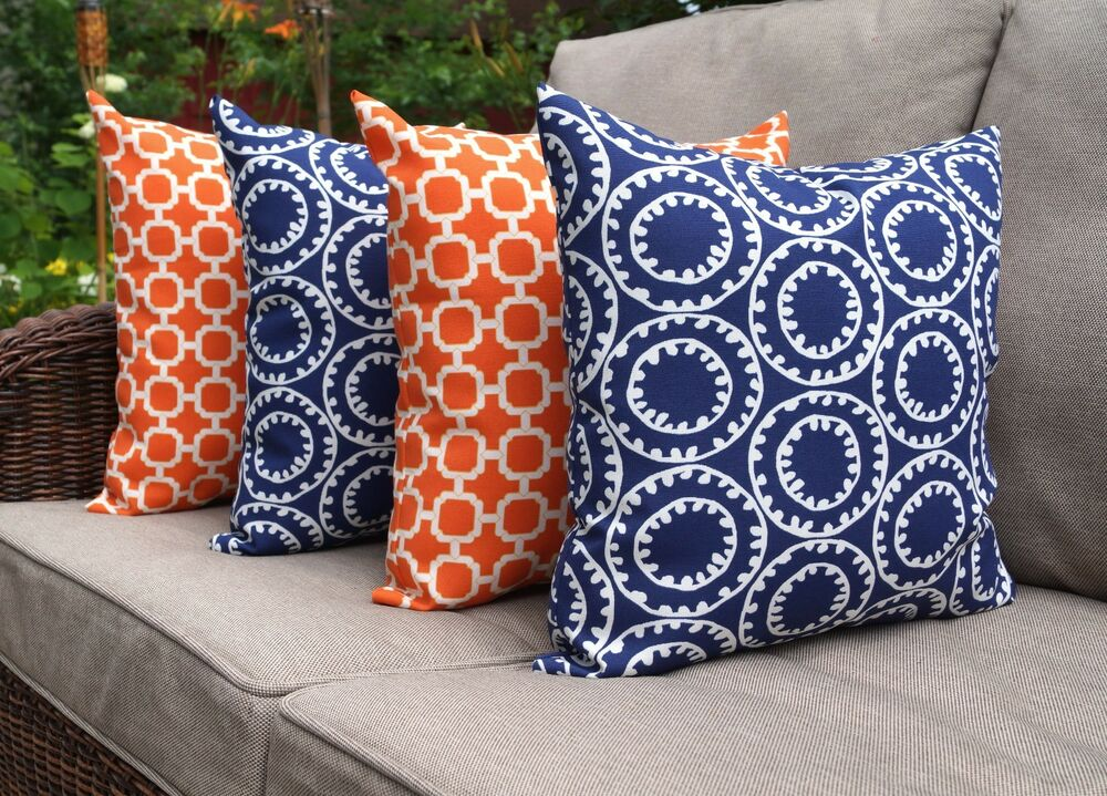 Throw Pillows Set Of 4 : Ring A Bell Navy and Hockley Mandarin Orange Outdoor Throw Pillows Set of 4 eBay