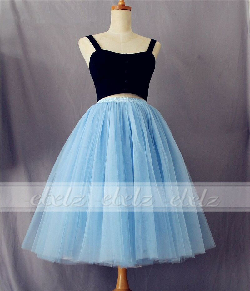 7 layers maxi tulle skirt high waisted midi skirts