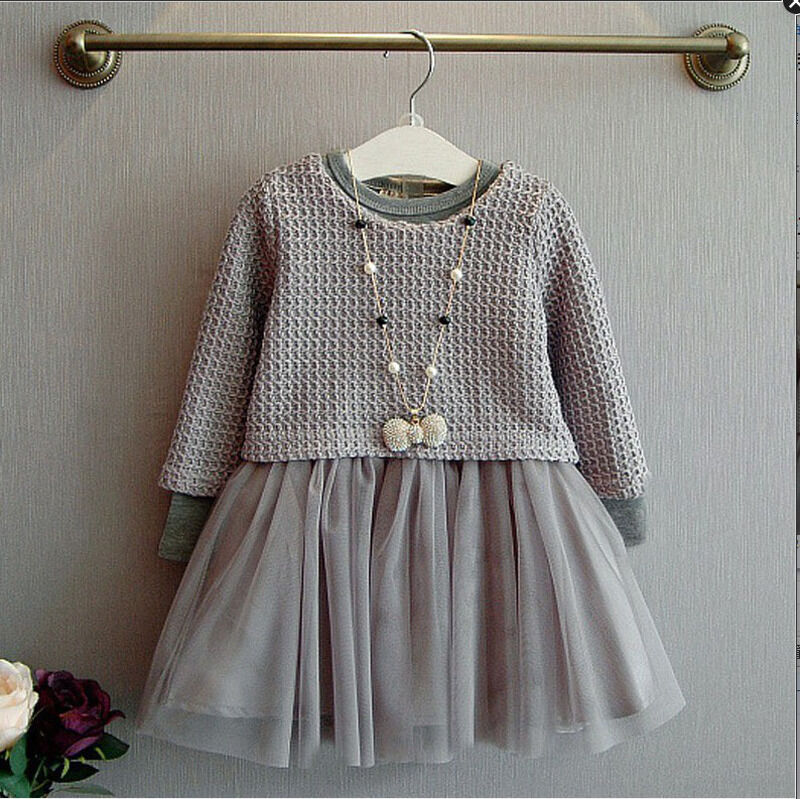 Fashion girls kids gray sweater top with dresses outfit suit set 2 pcs