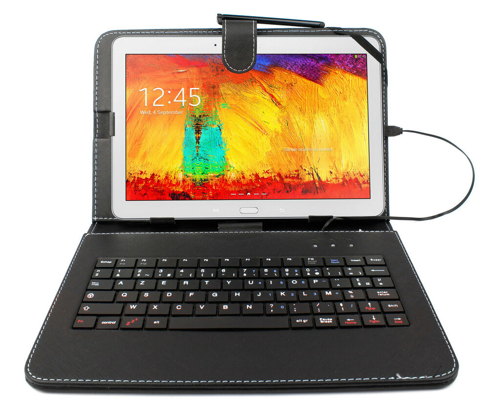 azerty case cover with keyboard for samsung galaxy note 10 1 tab 4 10 1 ebay. Black Bedroom Furniture Sets. Home Design Ideas
