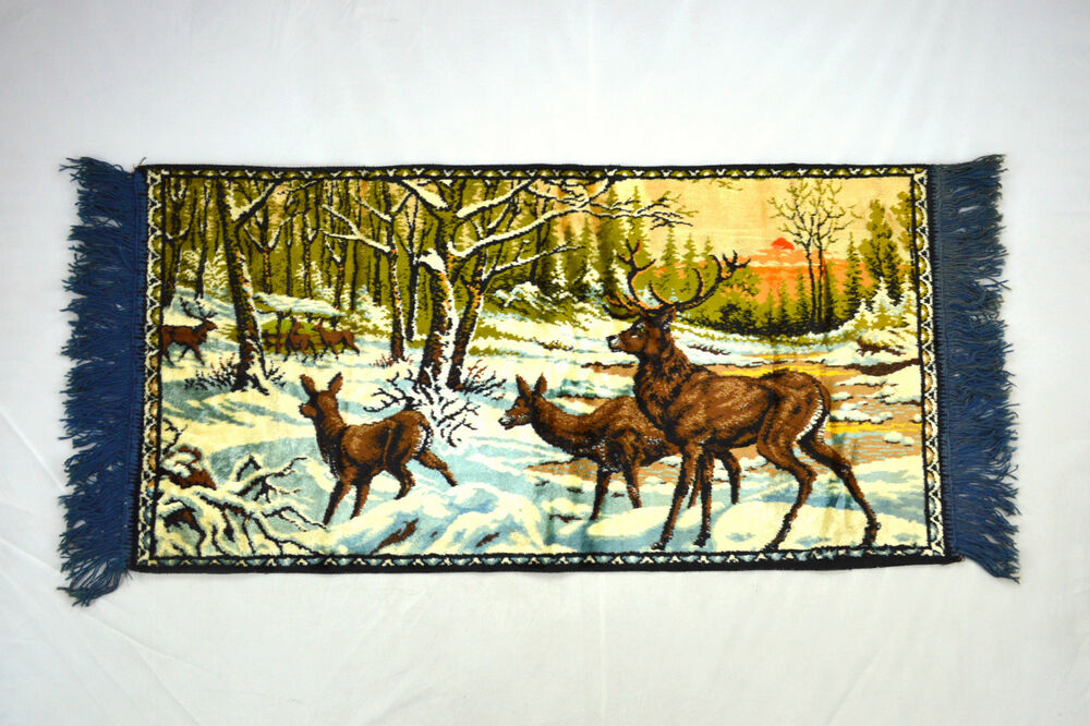 Vintage Velvet Deer Buck Wildlife Winter Forest Rug