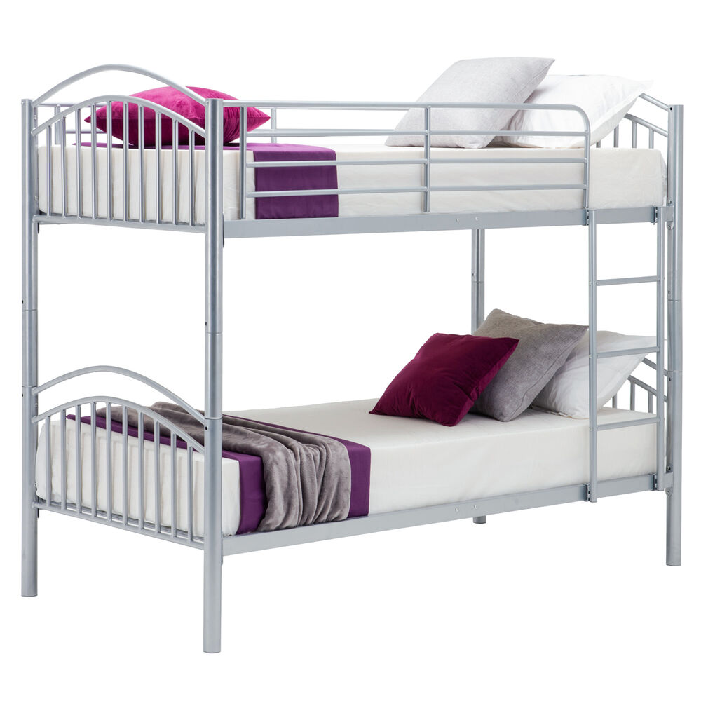 metal bunk bed frame 2 person 3ft single for adult children with mattress silver ebay. Black Bedroom Furniture Sets. Home Design Ideas