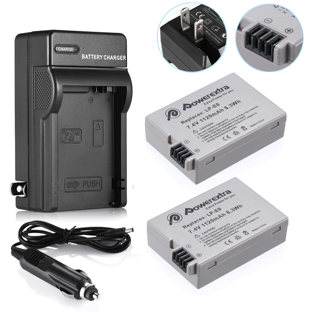 2 lp e8 battery pack charger combo for canon rebel t5i t4i t3i t2i dslr camera ebay. Black Bedroom Furniture Sets. Home Design Ideas