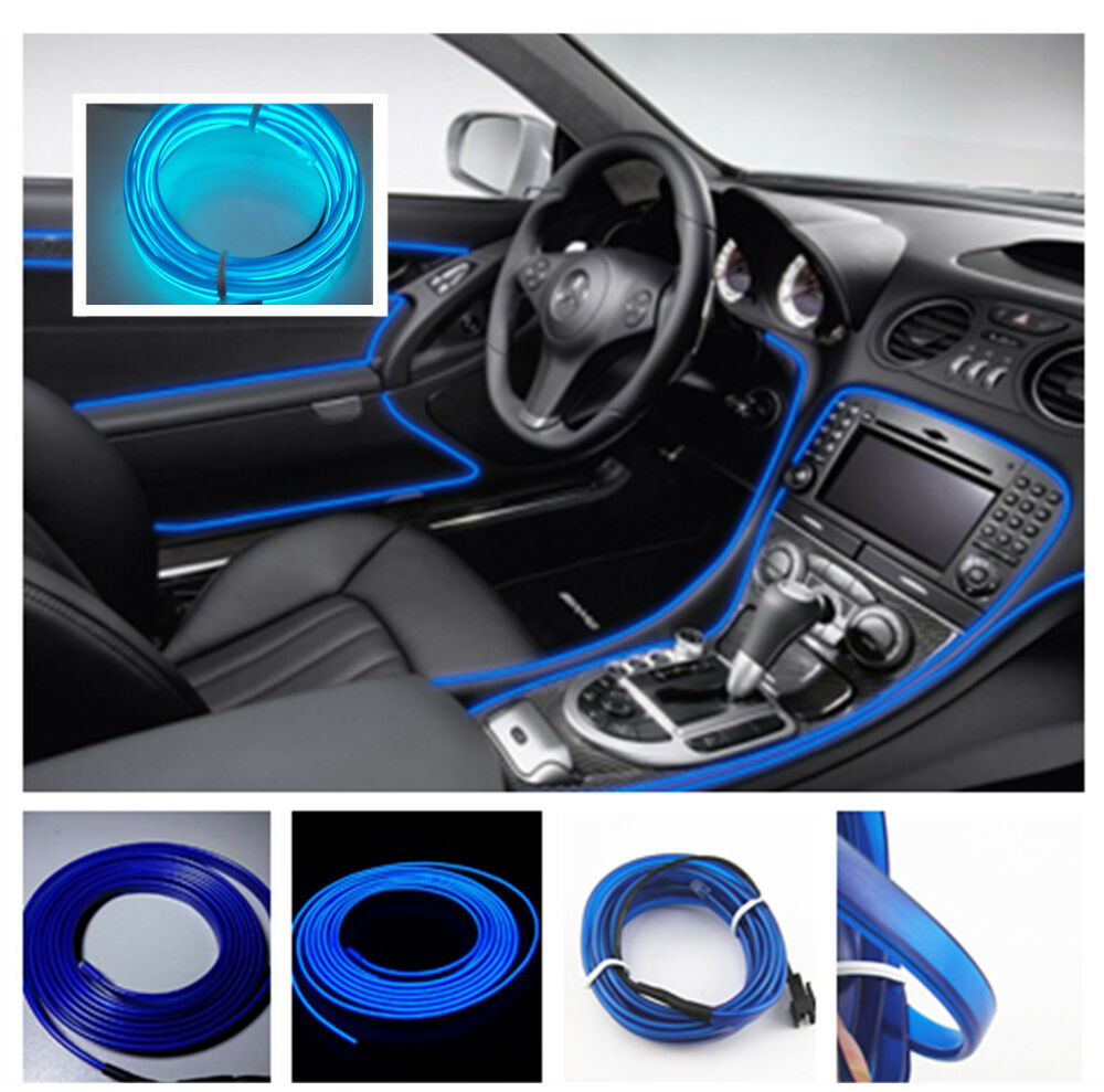 2m blue cold light lamp neon lamp 12v el wire car atmosphere fluorescent strips ebay. Black Bedroom Furniture Sets. Home Design Ideas