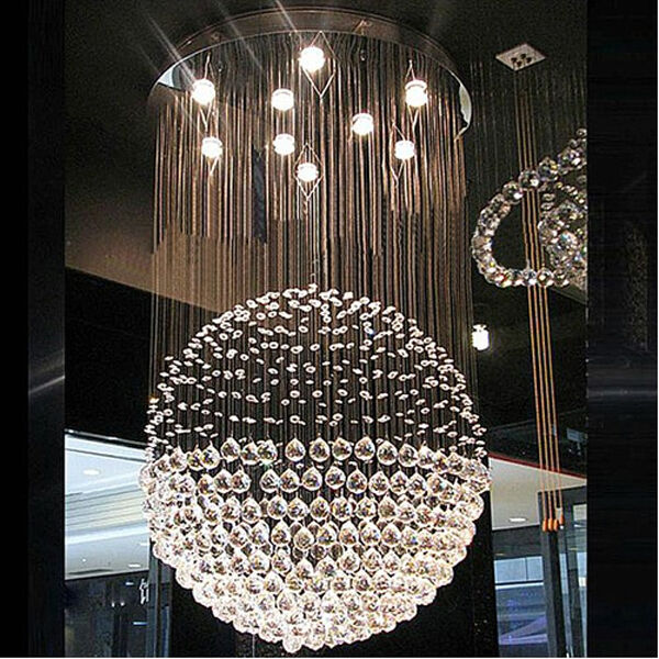 Modern Rain Drop Led Crystal Chandelier Sphere Lamp Dining