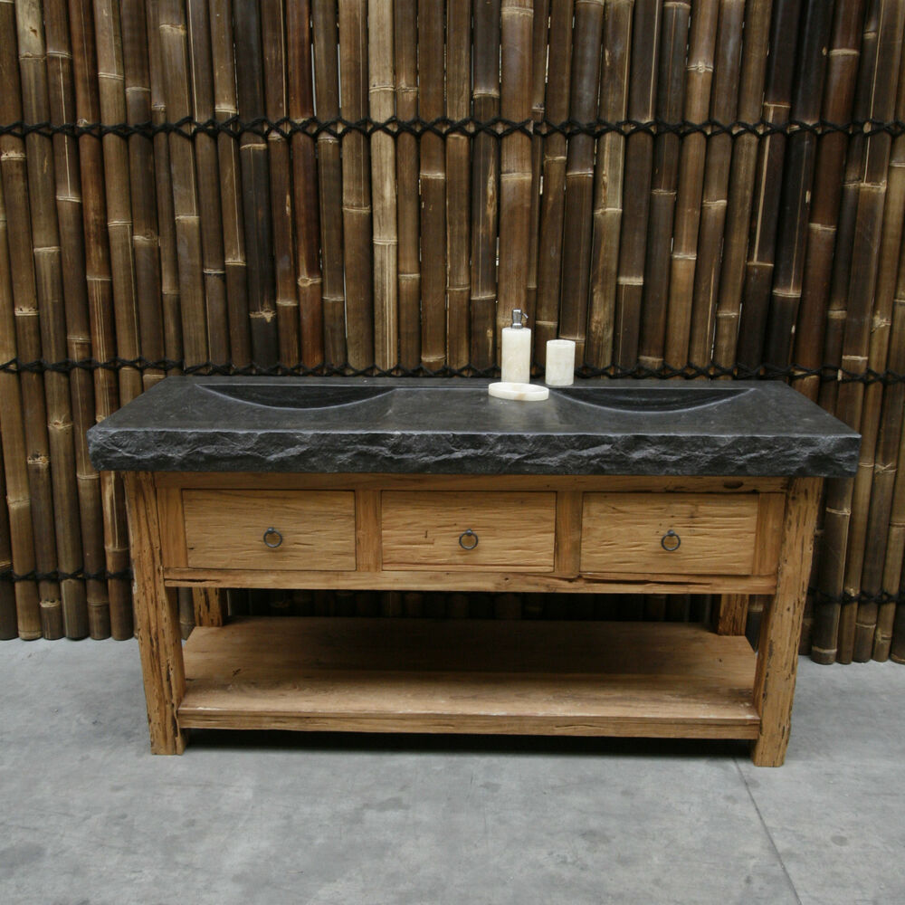 bali waschtisch roh teak inkl waschbecken badm bel altholz ebay. Black Bedroom Furniture Sets. Home Design Ideas