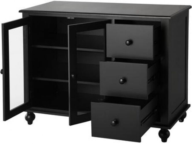 Black Wood Buffet Cabinet ~ Drawer storage buffet wood black glass dining cabinet