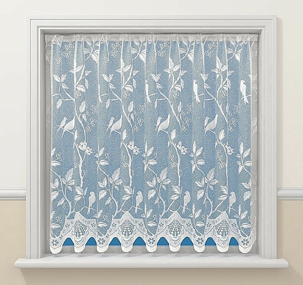 Pure white song birds love birds luxury victorian lace net for Window net curtain