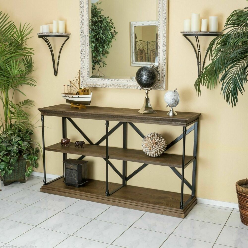 Home Office 3 Shelf Industrial Dark Khaki Wood Shelf