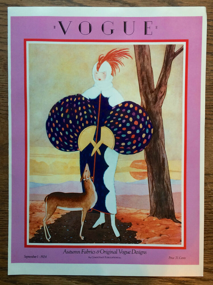 vogue fashion magazine cover poster sept 1 1924 woman and dog art deco print ebay. Black Bedroom Furniture Sets. Home Design Ideas