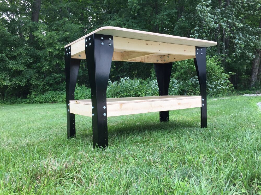 Wooden Bench Kit ~ Diy custom workbench wooden shelf garage shop workshop