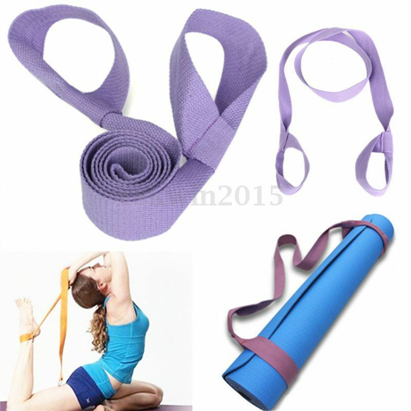 Purple Soft Cotton Elastic Yoga Pilates Mat Looped Sling