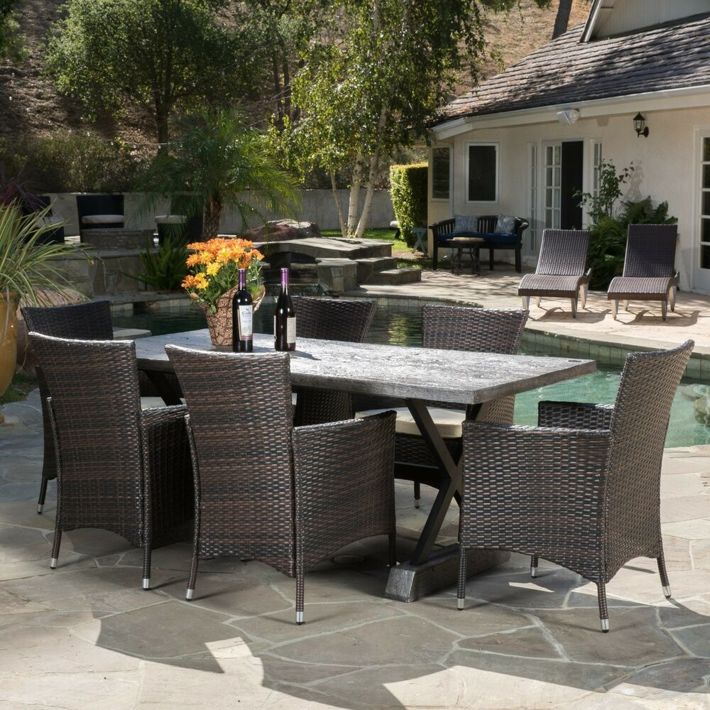 Contemporary rustic design outdoor 7 piece grey dining set for Decor 7 piece lunch set