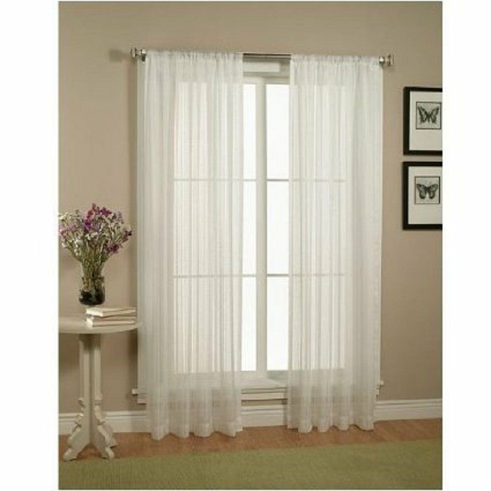 2 Piece Solid White Sheer Window Curtains/drape/panels