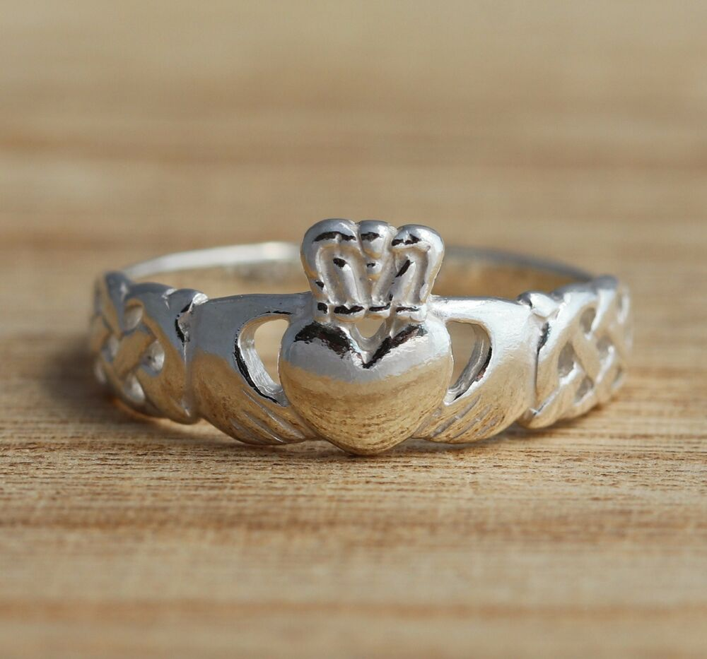 Solid 925 Sterling Silver Claddagh Band Ring Celtic Knot J-T Sizes Jewellery