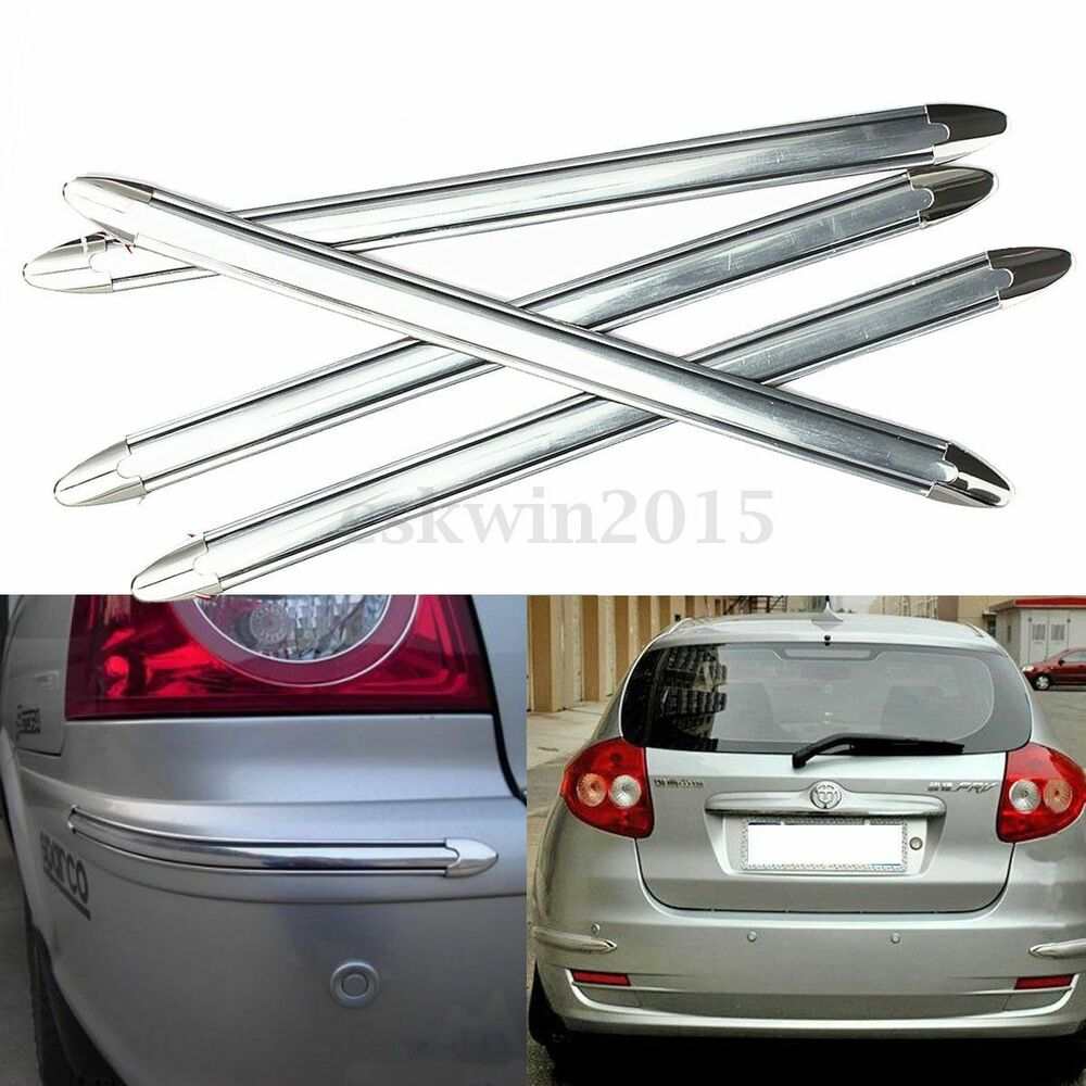 4x silver chrome bumper corner guard protector for car. Black Bedroom Furniture Sets. Home Design Ideas
