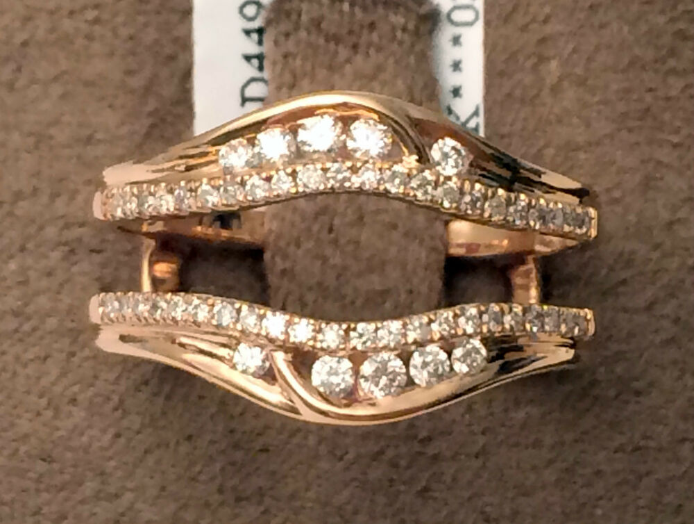 14k Rose Gold Solitaire Enhancer Round Diamonds Ring Guard