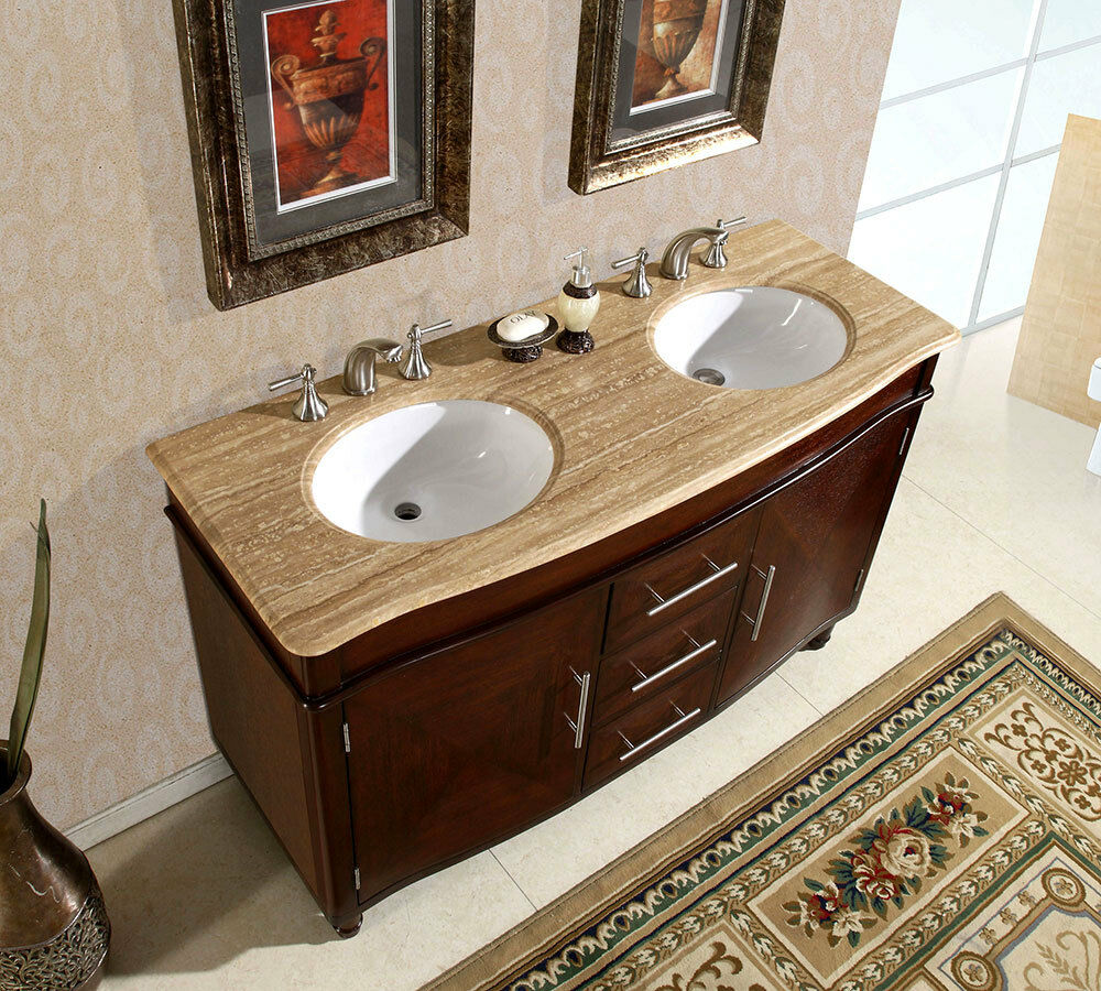 "55"" Travertine Stone Top Double Bathroom Sink Vanity"