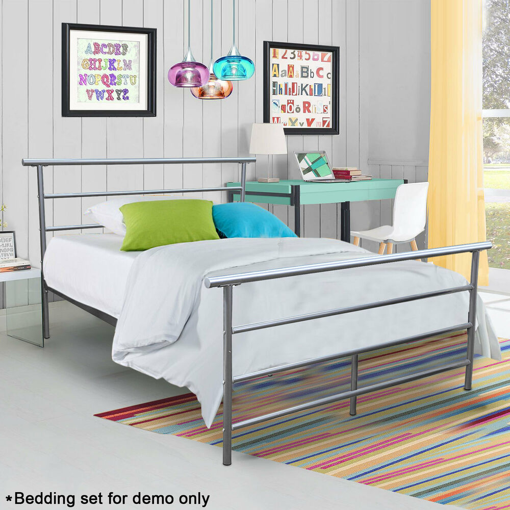 Metal platform bed frame full size bedroom furniture for Metal bedroom furniture