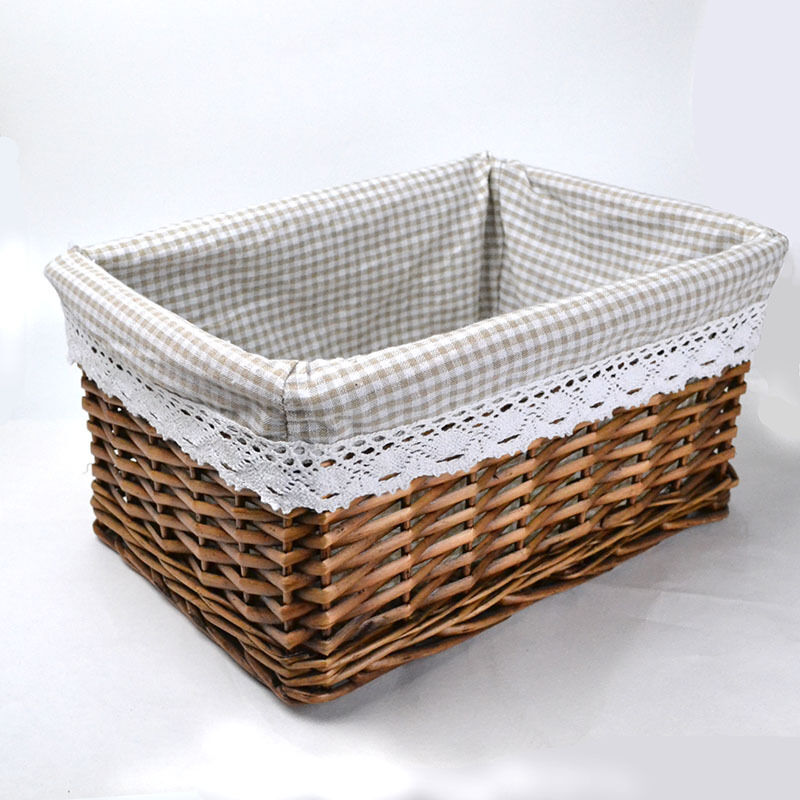 Rurality wicker storage baskets with liner ebay - Wicker hampers with liners ...