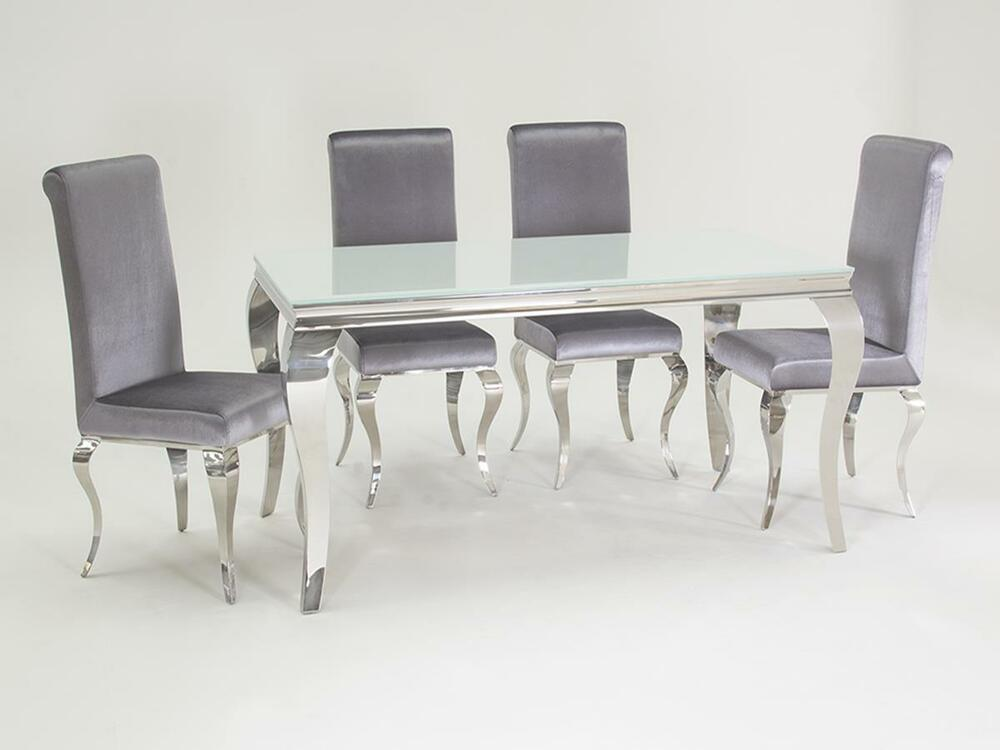 New stunning lacene white glass 160cm dining table silver for Dining room velvet chairs