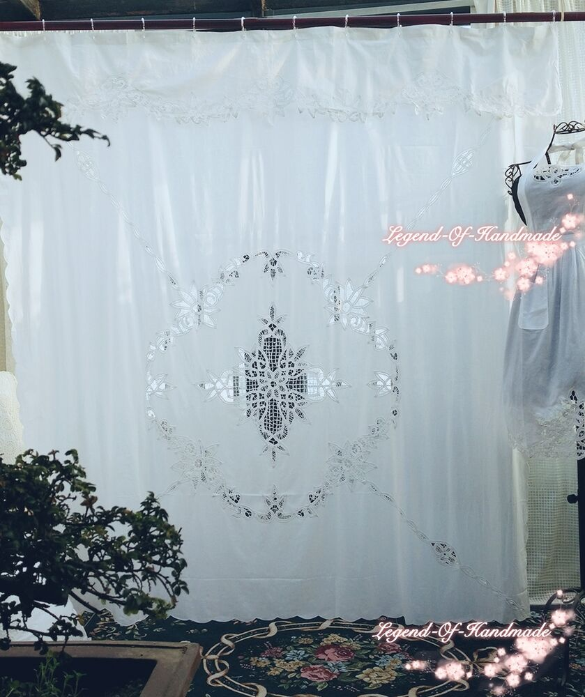 Vintage Style Battenburg Lace Shower Curtain~Pure Cotton