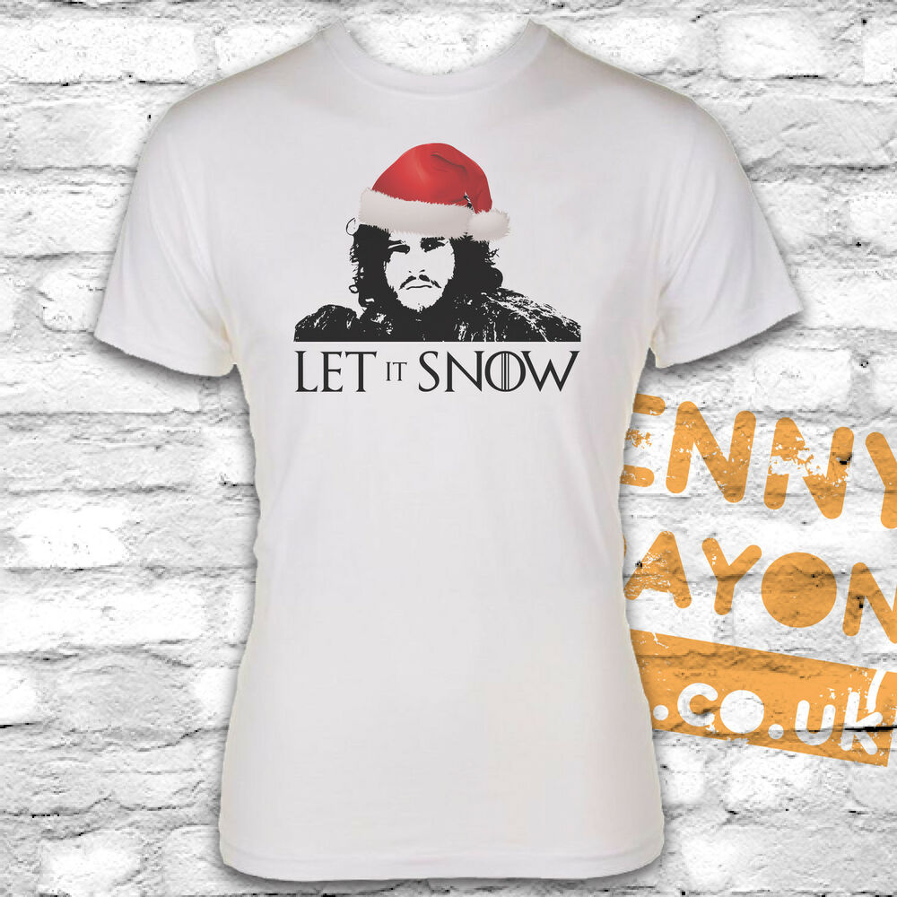 Let it snow christmas t shirt jon snow game of thrones for Game of thrones gifts for men