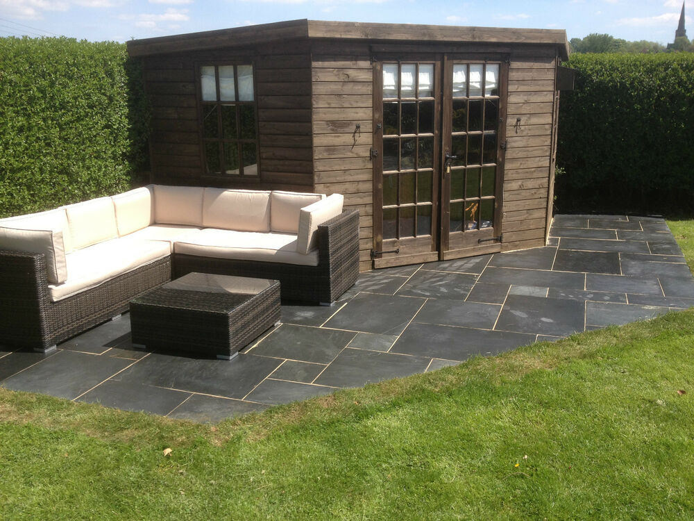 Natural blue black slate paving patio slabs 18m2 pack for Garden decking and slabs