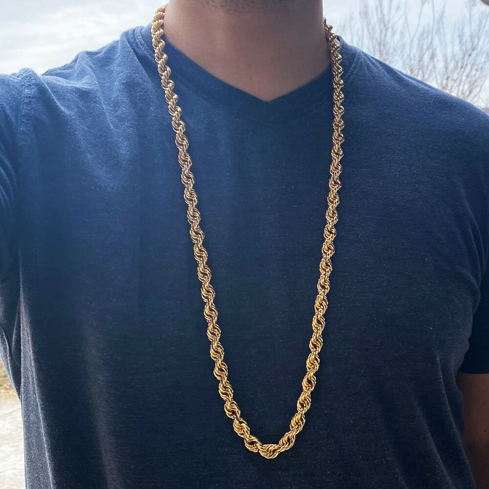 """36"""" Inch Rope Chain 10 mm Gold Finish Twisted Long Dookie ..."""